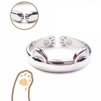 Born Pretty 1Pc Lovely Cat Ring Paw Pattern Open Adjustable Ring + Gift Box