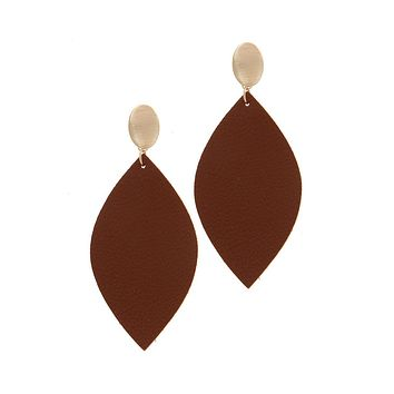 Simple Casual Fashion Jewelry Leather Pointed Oval Post Drop Earring