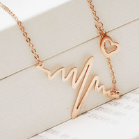 Cupshe Cute Heartbeat Shape Pendant Necklace