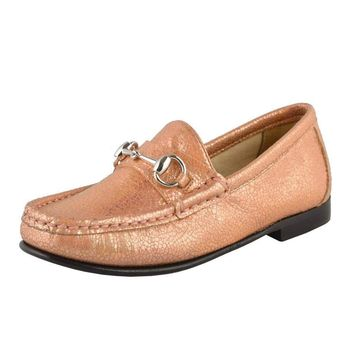 Gucci Girl's Sparkle Leather Horsebit Loafer Shoes