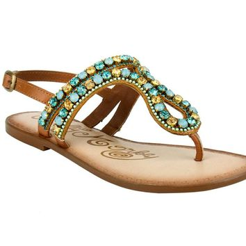 Naughty Monkey Style Stalker Bling Sandals Tan