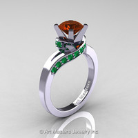Classic 14K White Gold 1.0 Ct Brown Diamond Emerald Designer Solitaire Ring R259-14KWGEMBRD