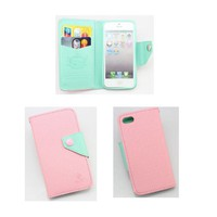 piaopiao colorful style leather flip wallet credit card hard case cover for Iphone 4 4g 4s (pink/mintgreen)