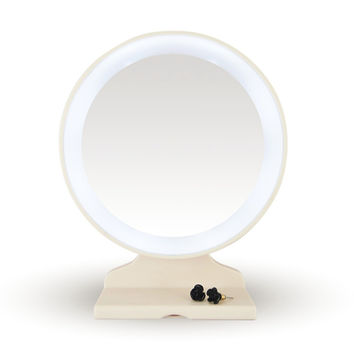 Lighted 180 Degree Makeup Mirror; High Quality, White