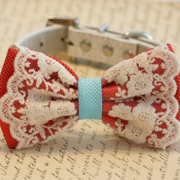 Coral and blue wedding dog collar, Coral Dog Bow Tie, Pet Wedding accessory, Vintage wedding, beach wedding, country wedding, Dog Lovers