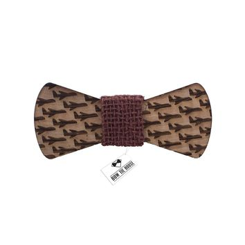 Wooden Plane Brown Bow Tie