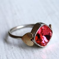 Handmade Pink Vintage Swarovski Crystal Ring with by luckyduct