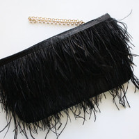 Ostrich Feather Clutch. Black Feather Clutch. Small Bag. Evening Bag. Feather Clutch. Bridesmaid gift. Ready to Ship. Free US Shipping