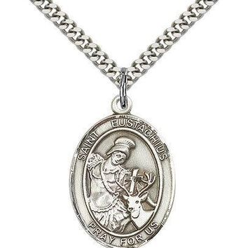 "Sterling Silver Saint Eustachius Medal Necklace For Men Women .925  24"" Chain"