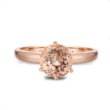 VS 7mm Pink Morganite Ring, Morganite Wedding Ring, Engagement Ring, 14K Rose Gold Ring, Anniversary Ring, Gemstone Ring