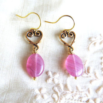 Earrings - Gold Celtic Heart and Pink Stone - St. Patrick's Day, Ireland, Celtic Knots, Valentine's Day, Birthdays, Girls, Mothers