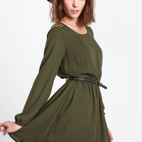 STUDDED BELTED CHIFFON DRESS