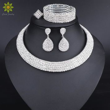 Crystal Bridal Jewelry Sets Silver Color Rhinestone Necklace Earrings Bracelet Ring Wedding Engagement Jewelry Sets for Women