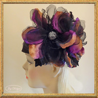 Handmade Black Italian Sinamay Linen Headwrap with Black and Magenta Hand Beaded Silk Organza and Velvet Magnolia Flowers