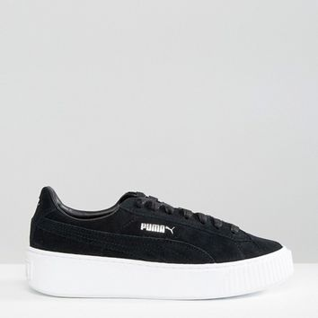 Puma Classic Suede Platform Sneakers In Black at asos.com