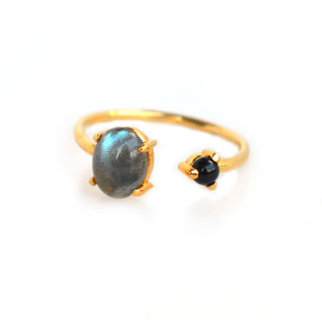 Labradorite and Onyx Dual Ring