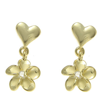 YELLOW GOLD STERLING SILVER 925 HEART DANGLE HAWAIIAN PLUMERIA FLOWER EARRINGS