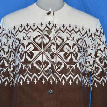 80s Woolrich Brown White Floral Women's Cardigan Sweater  Medium