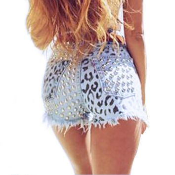 2054 2017 Women's Fashion Brand Vintage Tassel Leopard Rivet Ripped Loose High Waisted Short Jeans Punk Sexy Woman Denim Shorts
