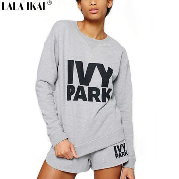 Beyonce Ivy Park Hoodies Letter Print Survetement Femme Marque 2016 Femme Survetement S-XXL White Black White SWI0142-5