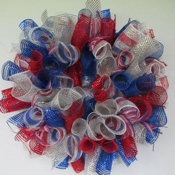 Patriotic wreath, 4th of July wreath, Memorial Day wreath, Summer wreath, Veterans Day decor, Memorial Wreath