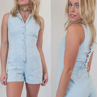 1990s Vintage Denim Corset Playsuit | Womens Shorts Romper Size 3 Small XS | Lace-Up Boho 90s Grunge One Piece Onesuit Light Wash Jean Shorts