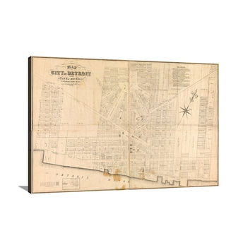 Map of City of Detroit, Michigan Large Vintage Map Matte Print