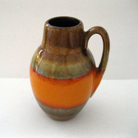 Orange and Brown Scheurich West Germany Vase Mottled and Drip Glaze High Gloss Mold 414-16 Mid Century Art Pottery -FL