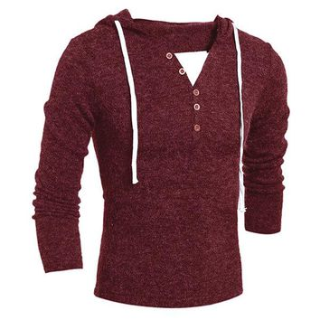 Casual Buttons Knitted Hooded Sweater