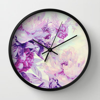 pastel bouquet Wall Clock by Clemm