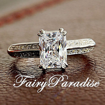 2 Ct Emerald shape Radiant Cut (6 mm * 9 mm) man made diamond Solitaire Enagagement Wedding Promise Ring in Vintage Style 2 rows Pave Band