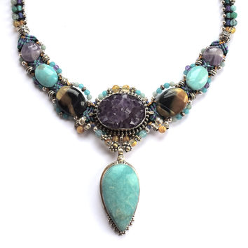 Isha Elafi Kris Necklace in Teal, Gold & Purple with Amazonite and an Amethyst Geode