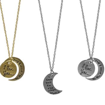 Love You To The Moon Necklaces-3 Designs-Perfect Valentines Day Gifts