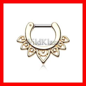 Gold Septum Clicker 16g 14g Golden Acerose Filigree Septum Ring Earring Cartilage Piercing Tragus Ring Helix Conch Nose Belly Nipple