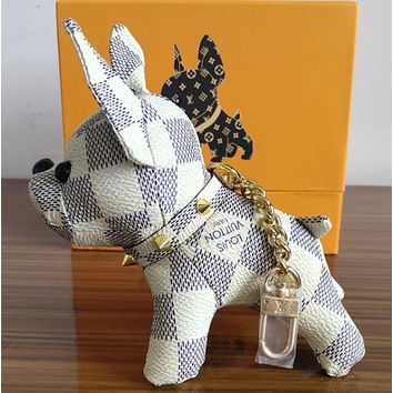 LV Louis Vuitton New Fashion Print Cute Dog Bag Charm And Keychain Key Holder White