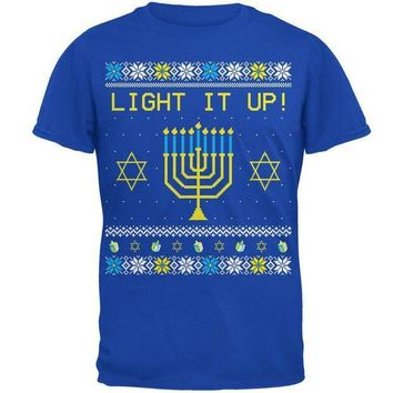 PEAPGQ9 Hanukkah Light It Up Ugly Christmas Sweater Mens Soft T Shirt