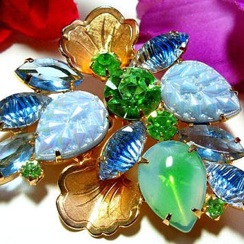 "Juliana Brooch Pin D&E Confirmed Pastel Blue Green Rhinestones Gold Metal Leaves 2 1/2"" Vintage"