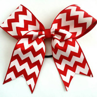 Medium cheer bow, red cheer bow with ponytail holder,  cheerleading team, baton, dance, 2 inch ribbon, 6 inch bow, grosgrain, chevron bow