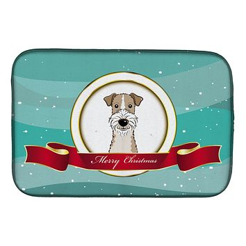 Wire Haired Fox Terrier Merry Christmas Dish Drying Mat BB1557DDM