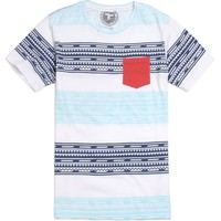 Topo Ranch Native Stripe Pocket T-Shirt - Mens Tee - White -