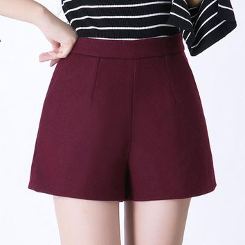 Winter Shorts Women Wool Boots Shorts High Waist Shorts Candy Colors Loose Short Pants  Pockets Casual Wear Plus Size