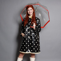 60s Mod RAIN COAT / Black & White Polka Dot Vinyl Raincoat, osfm