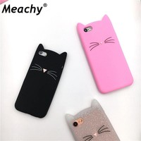 Meachy For iPhone 5 5s se 6 6s 7 8 Plus X Case Cute Cartoon Cat Cases 3D Silicone Soft Back Cover Funda For iPhone 5s Phone Case