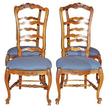 Country French Ladderback Chairs, S/4