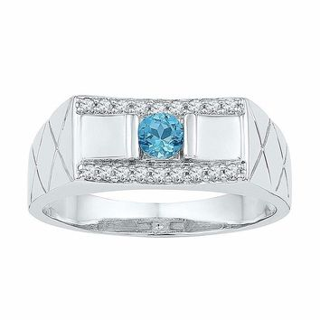10kt White Gold Mens Round Lab-Created Blue Topaz Diamond Band Ring 1-2 Cttw - FREE Shipping (US/CAN)