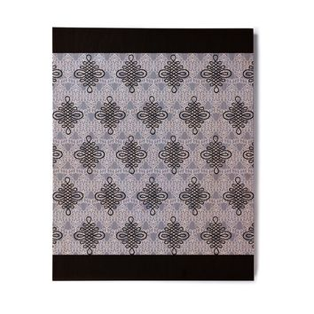 "Nl Designs ""Blue Damask"" Blue Black Digital Birchwood Wall Art"