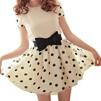 Blooms Korea Dress Women's Polka Dot Pompon Gauze Bubble Dress