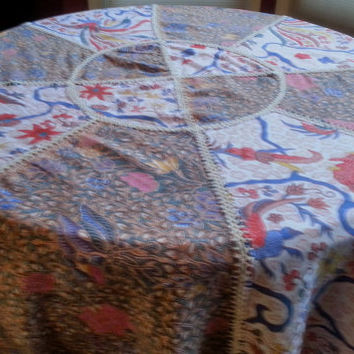 "72"" Diameter Round Tablecloth Fabulous Boho Hand Crochet Patchwork Batik Style Fabric One of a Kind"