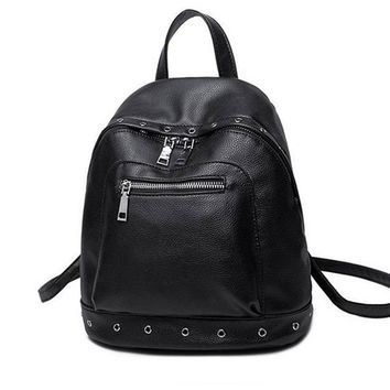 Women 100% Genuine Leather Punk Fashion Rivets Backpacks