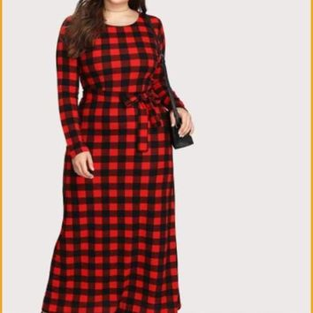 Extended Sizes Plaid Full Length Dress